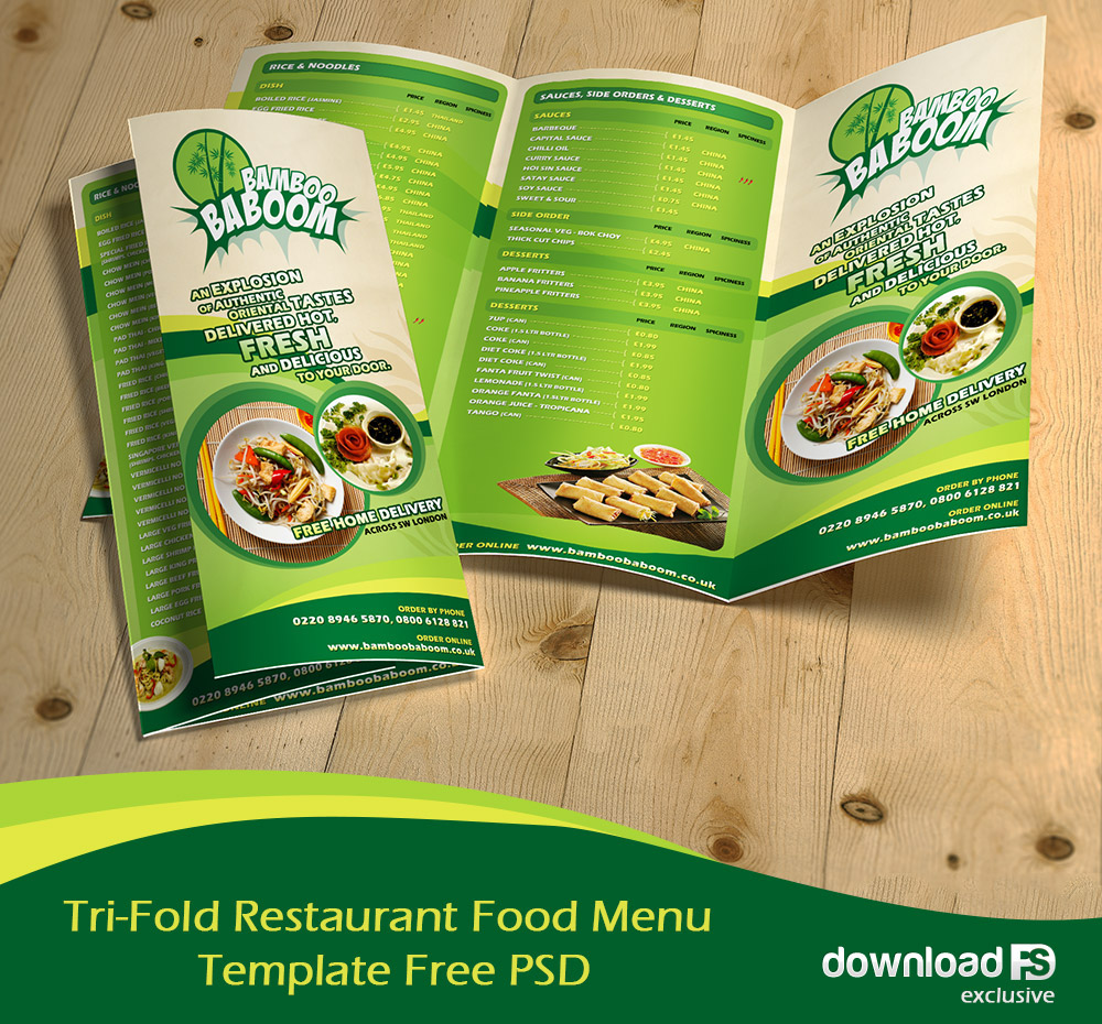 TriFold Restaurant Food Menu Template Free PSD On Behance - Foldable menu template