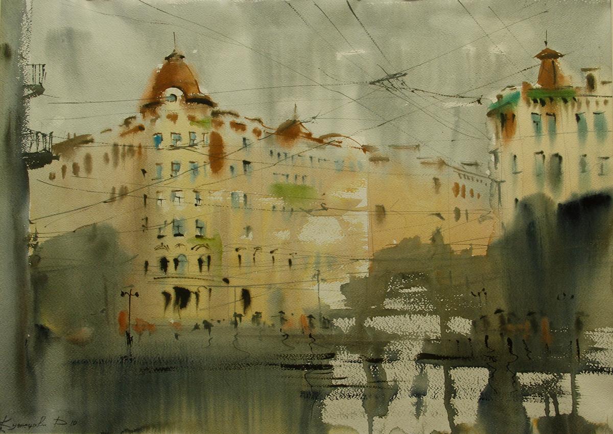 artist Drawing  graphi art ILLUSTRATION  rain watercolor акварель графика петер художник