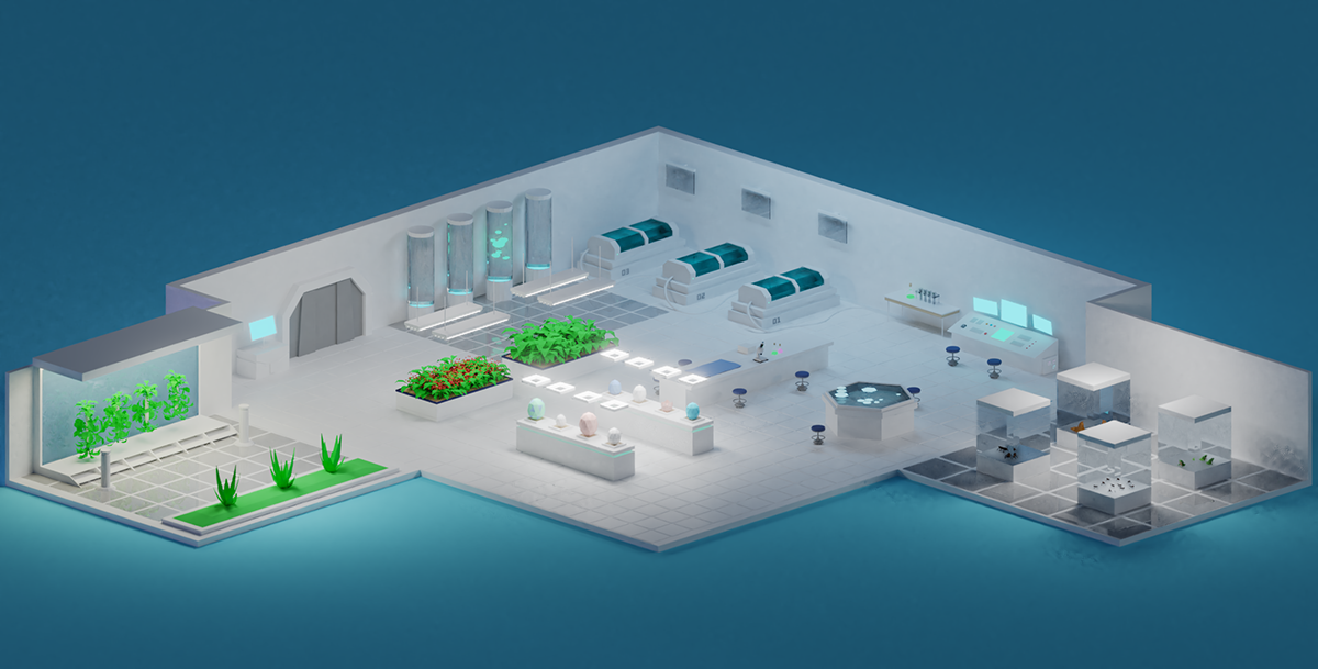 blender game Otter Planet Low Poly art direction  Isometric concepts 3D b3d