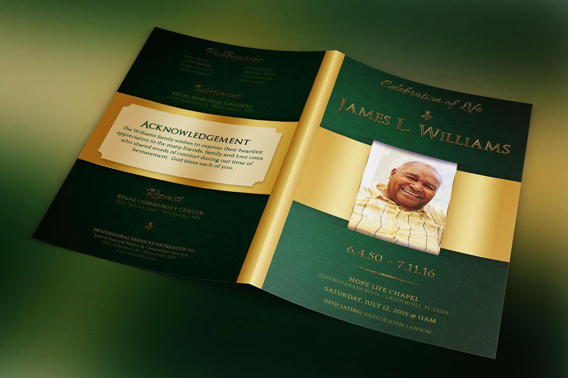 green regal funeral program template on behance