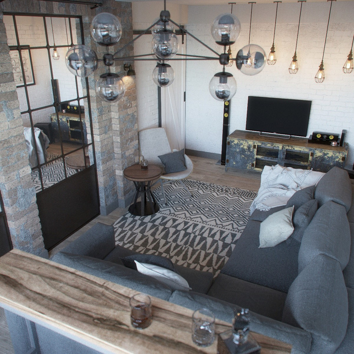 Visualization loft in a small apartment living room on - Apartamentos tipo loft ...