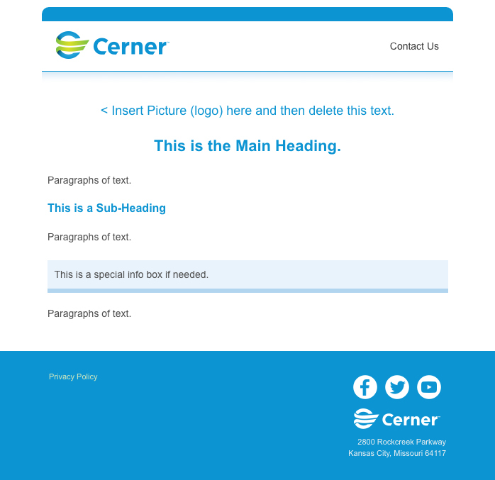Cerner HTML Emails On Behance - Privacy policy html template