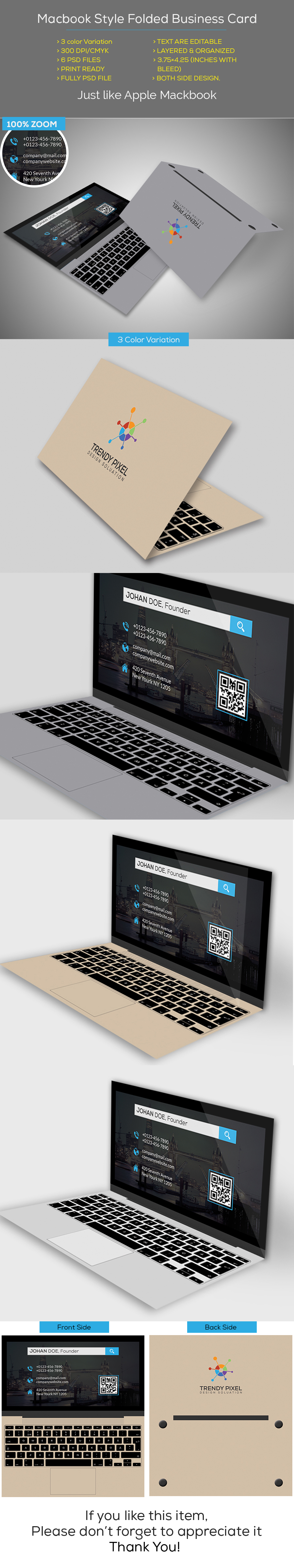 Macbook style folded business card on behance reheart Image collections