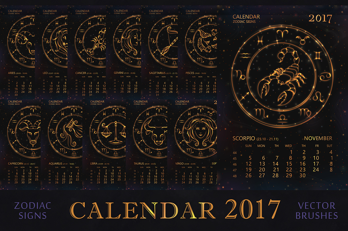 CALENDAR for 2017 year with ZODIAC SIGNS  on Behance