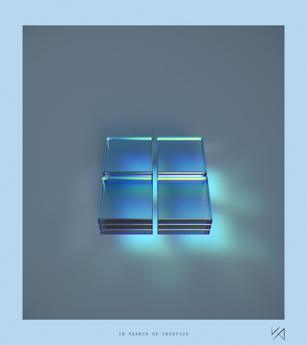 abstract c4d caustics glass redshift dispersion iridescent reflection refraction 3D