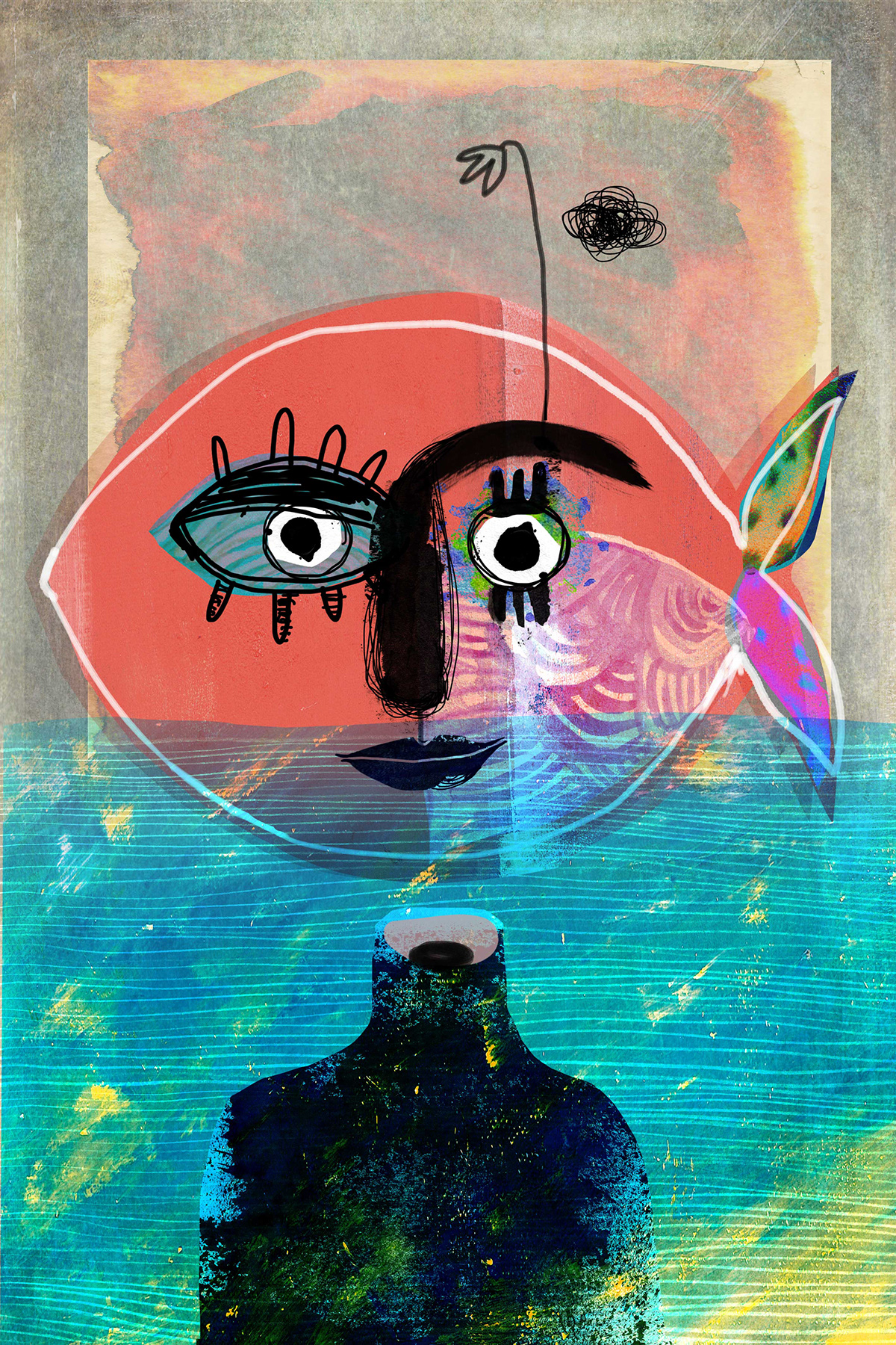 collage digital painting ILLUSTRATION