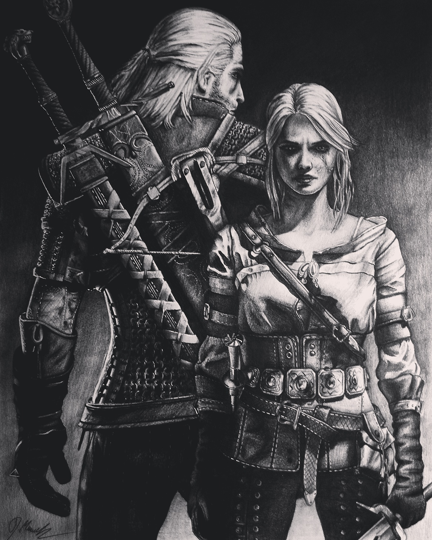 witcher WildHunt witcher3 thewitcher art masterpeace bw blackwhite ciri geralt dzikigon sapkowski pencildrawing poland sketch