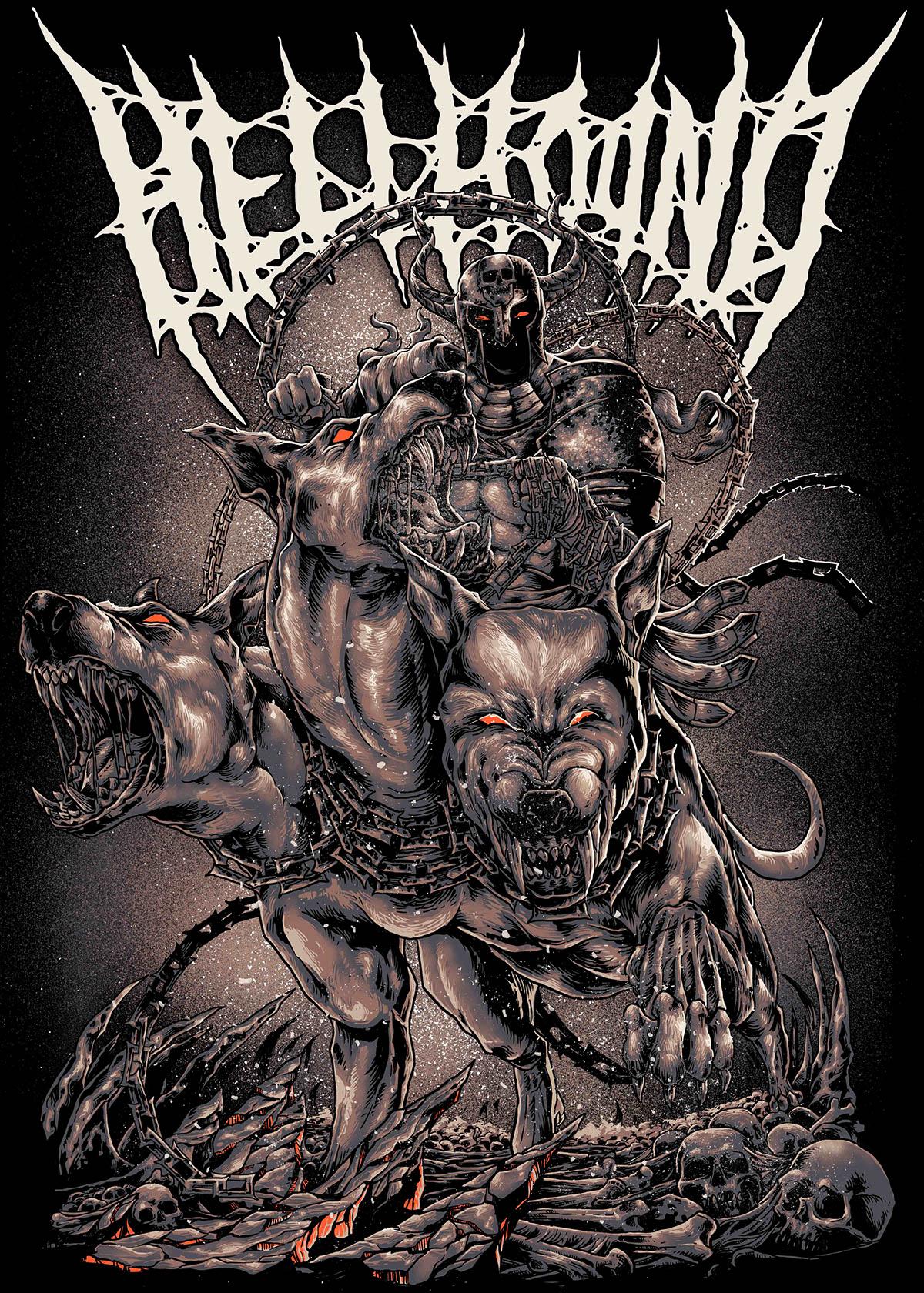 Death Metal Band Tees Artwork - Hellhound on Wacom Gallery