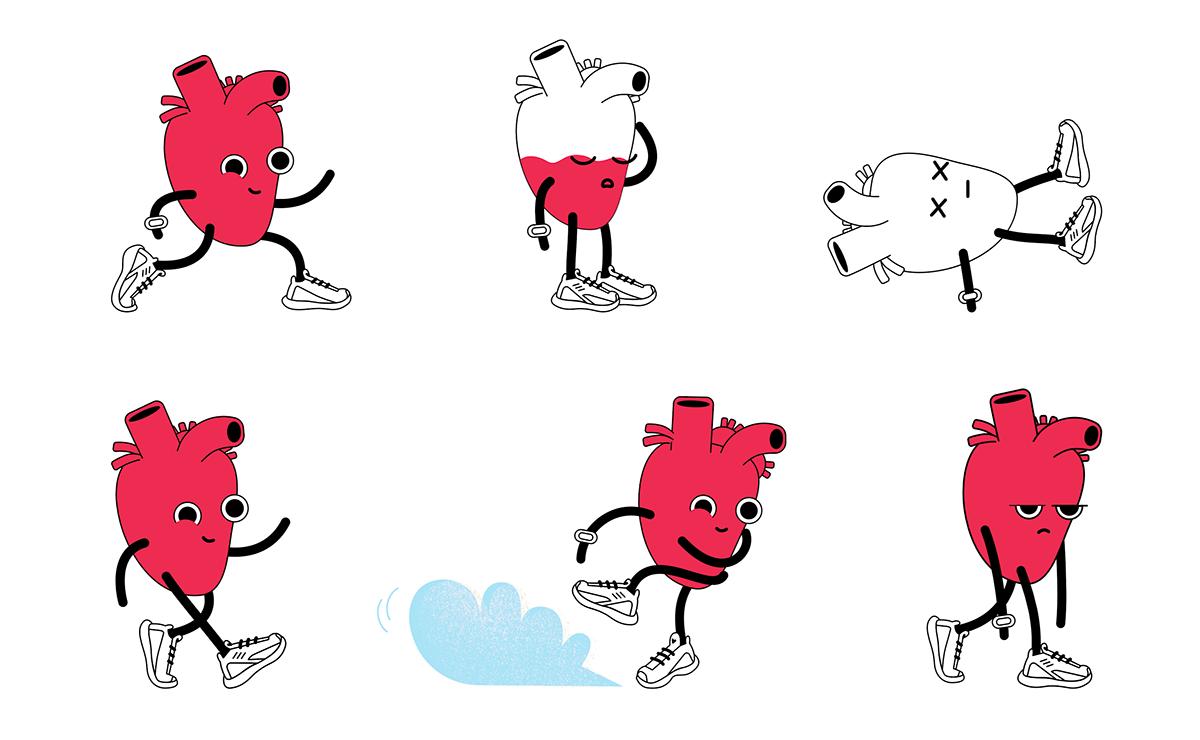 run runninghabit Health app effective Character cartoon heart