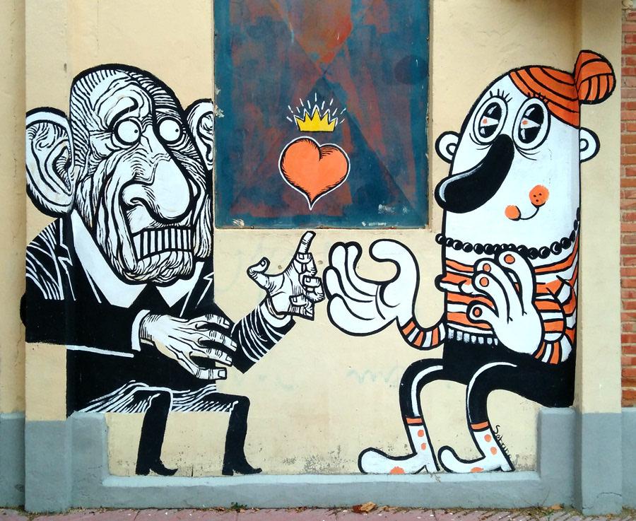 old man vampire viejo pareja couple Mural Calle