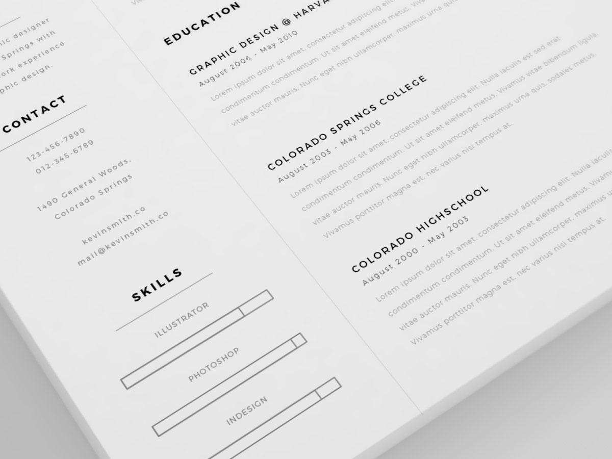 Resume CV freebie free template Illustrator adobe ai curriculum Vitae inspiration minimal clean cover letter