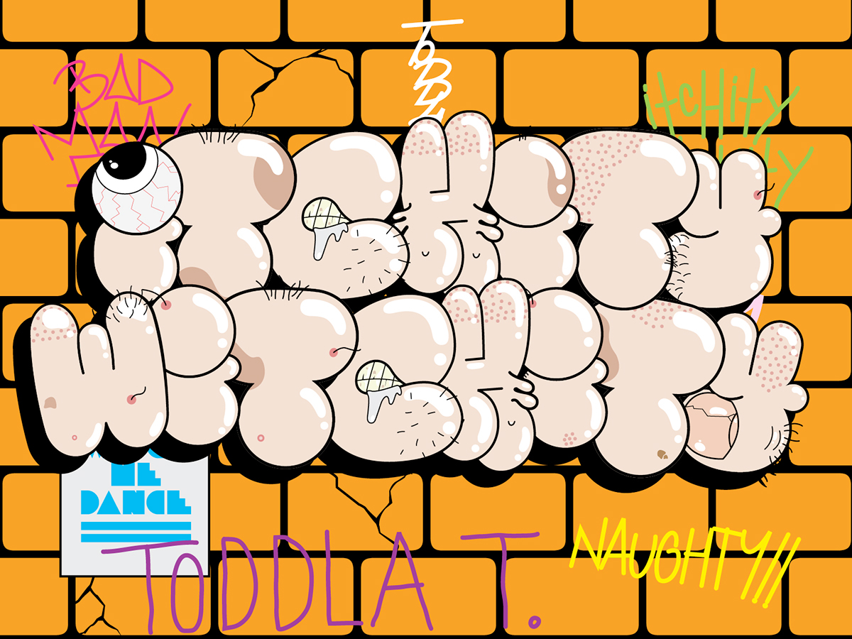 type design bubbles font Typeface download free vector throw up flop alphabet cute Fun NINJA TUNE Toddla t