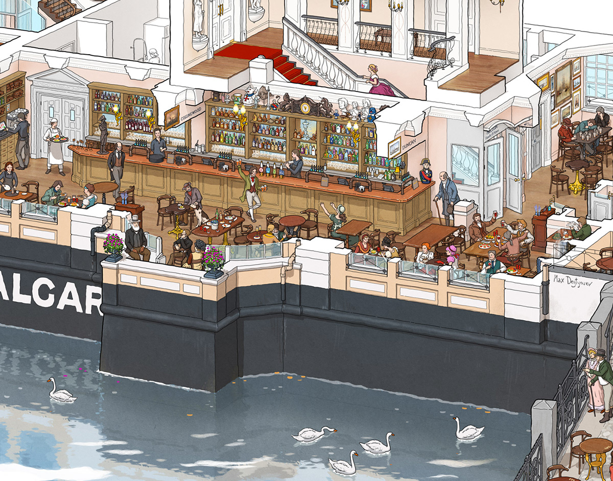 cutaway crosssection Interior Tavern bar pub greenwich London detailed infographic