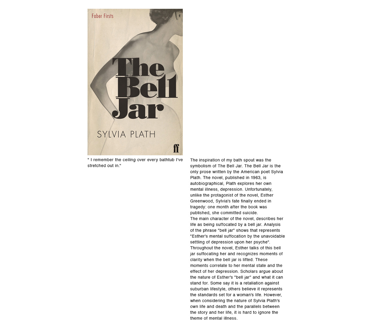 sylvia plath The Bell Jar Faucet bath spout bathing showerhead water bathroom mome LINE AND ROUND