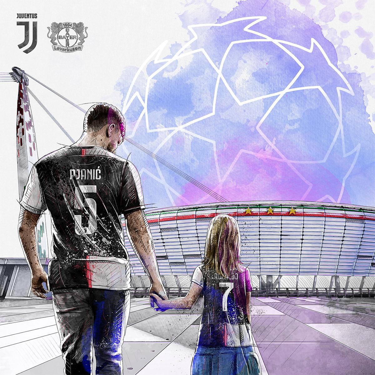 Dynamic sport/football illustration for Juventus vs Bayer 04 Leverksen: Stadium, father and daughter