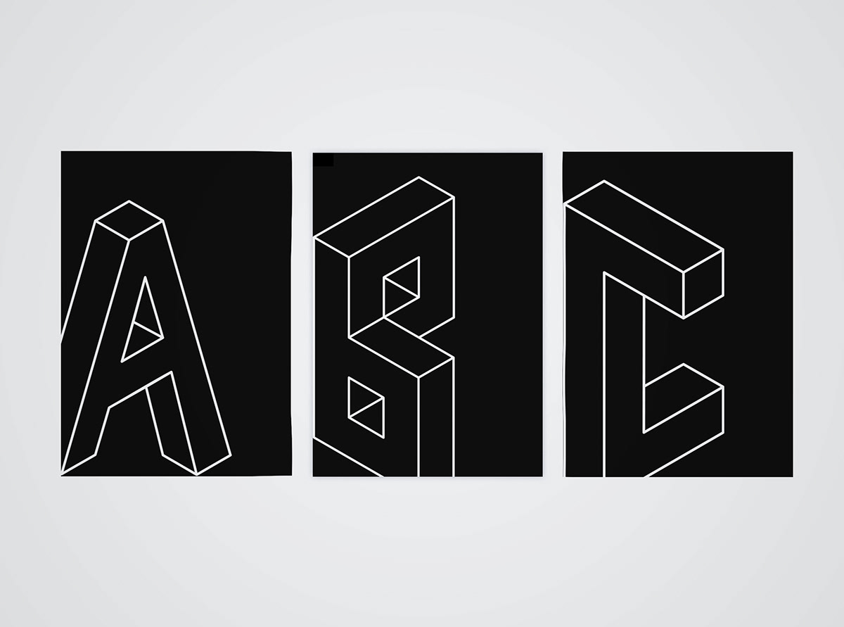 3D black and white escher Escheresque font font design grid system Isometric type typography