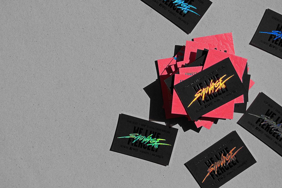 holographic edges business cards sauvage gmund embossing hotfoil crafts   foil