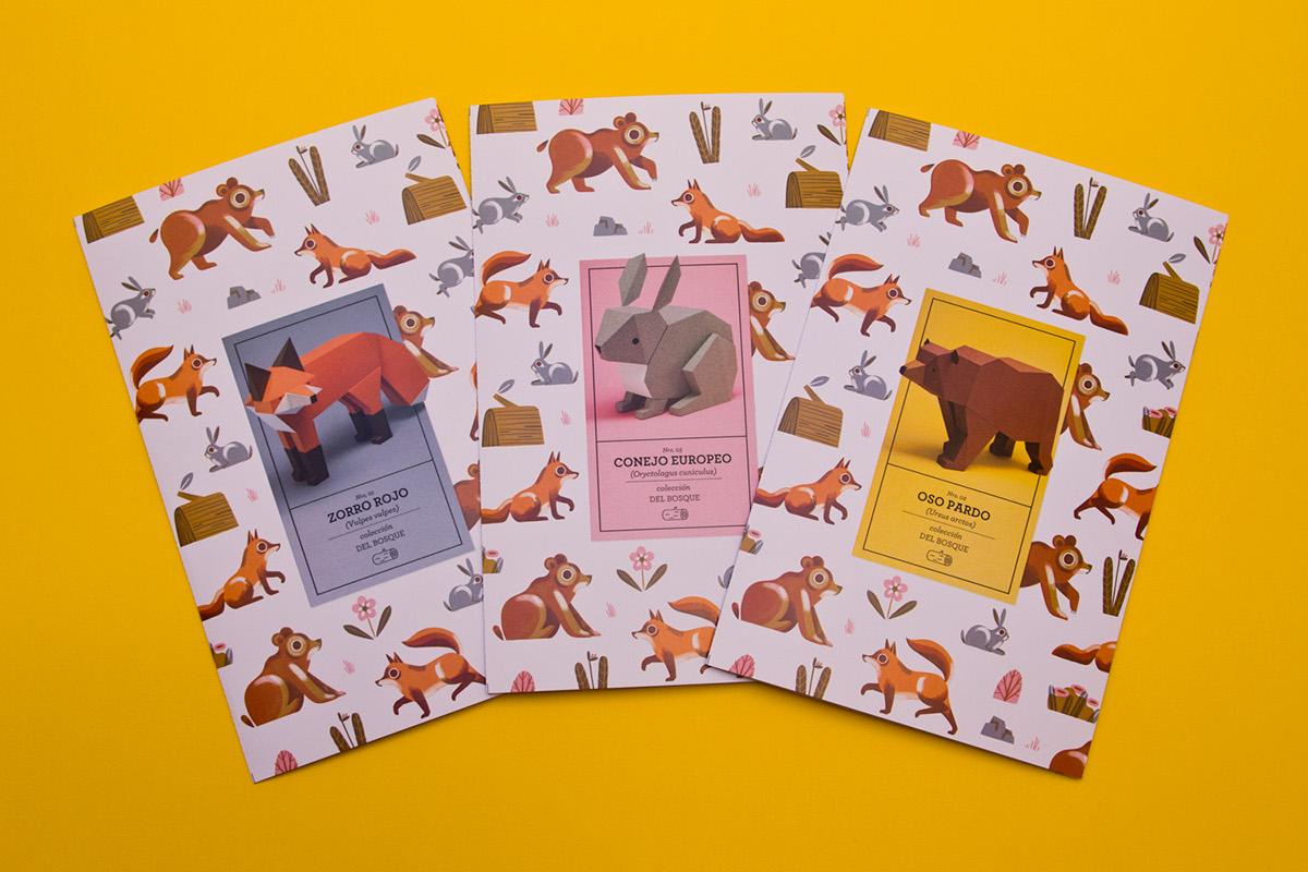 papercraft mammals lowpoly forest FOX rabbit bear colecciondelbosque zorro brown bear