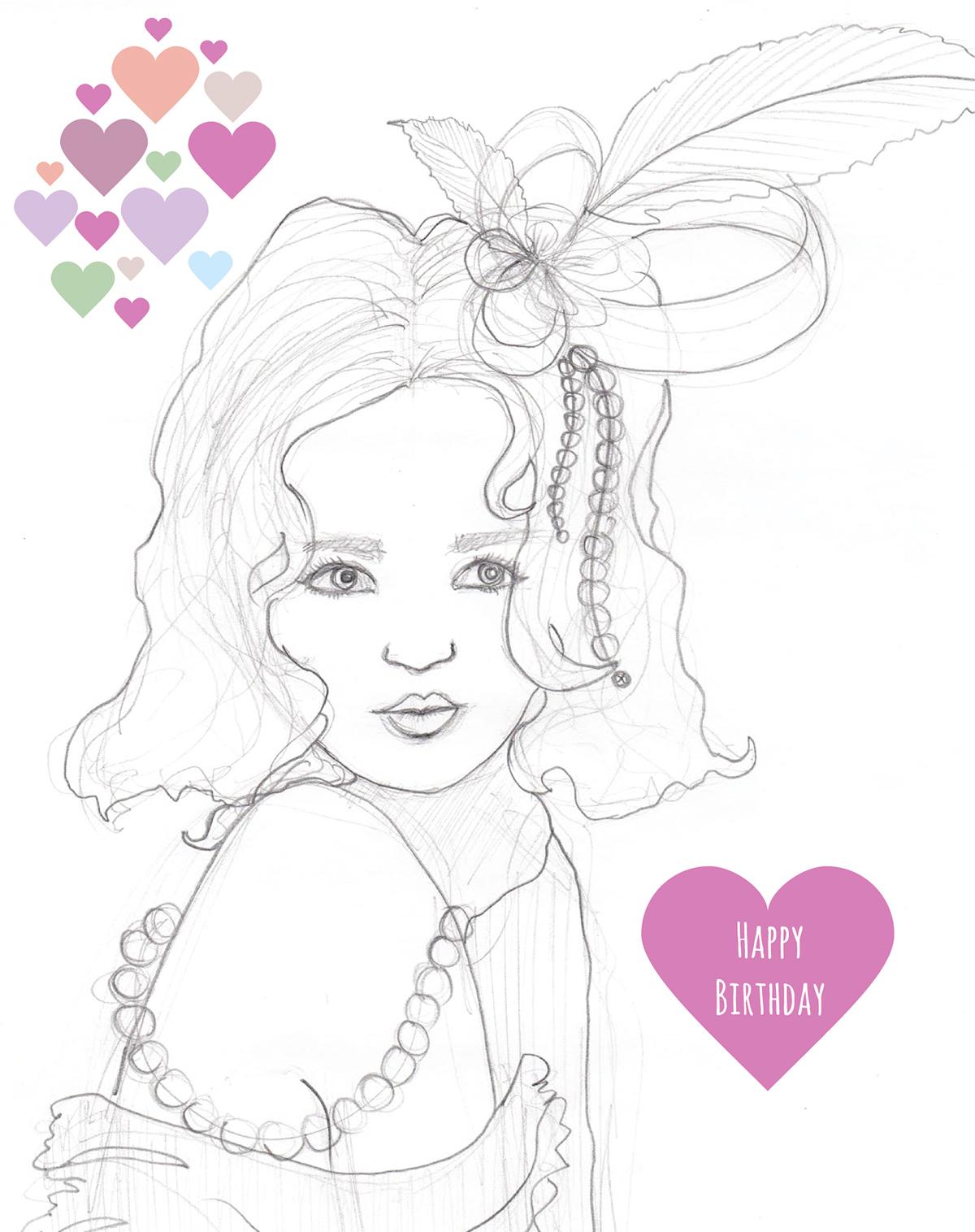 Birthday Style girl feminine greeting card design