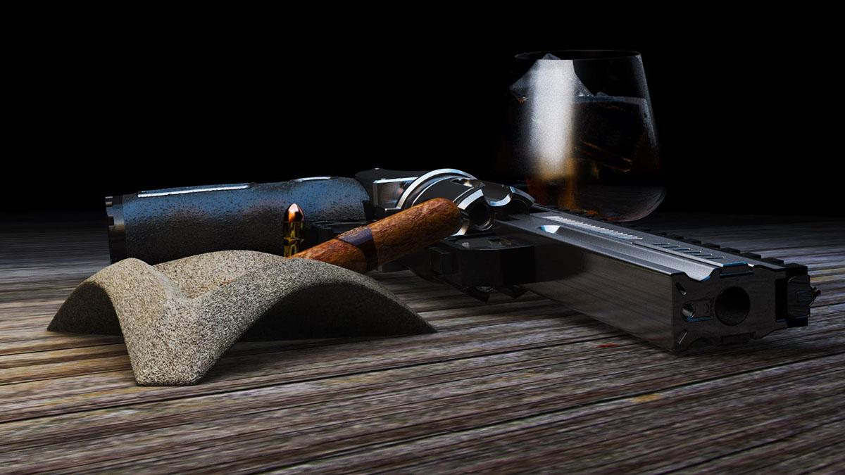 Gun Revolver mafia drink Whisky ice Bullets 3D 3ds max student