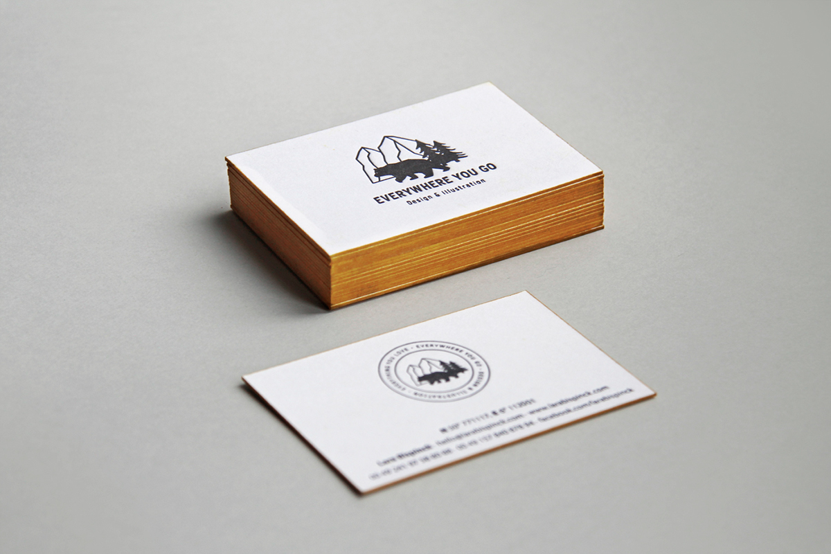 Everywhere you go corporate design on behance personal business card hand screen printed on 300g gmund cotton linen cream paper refined with an embossed logo and a yellow edge colouring reheart Image collections