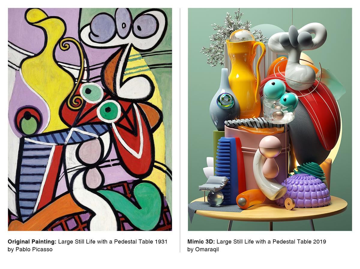 3D illustratiuon Digital Art  Picasso cinema4d photoshop Illustrator contemporary modern composition cubism