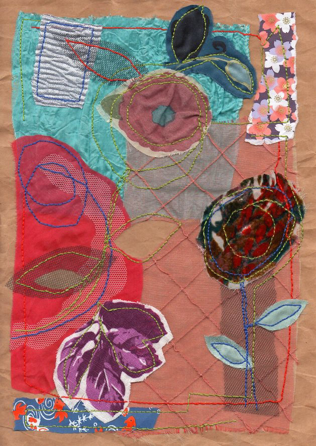 color collage fabric paper Flowers composition thread stitching alex mitchell twinki-winki