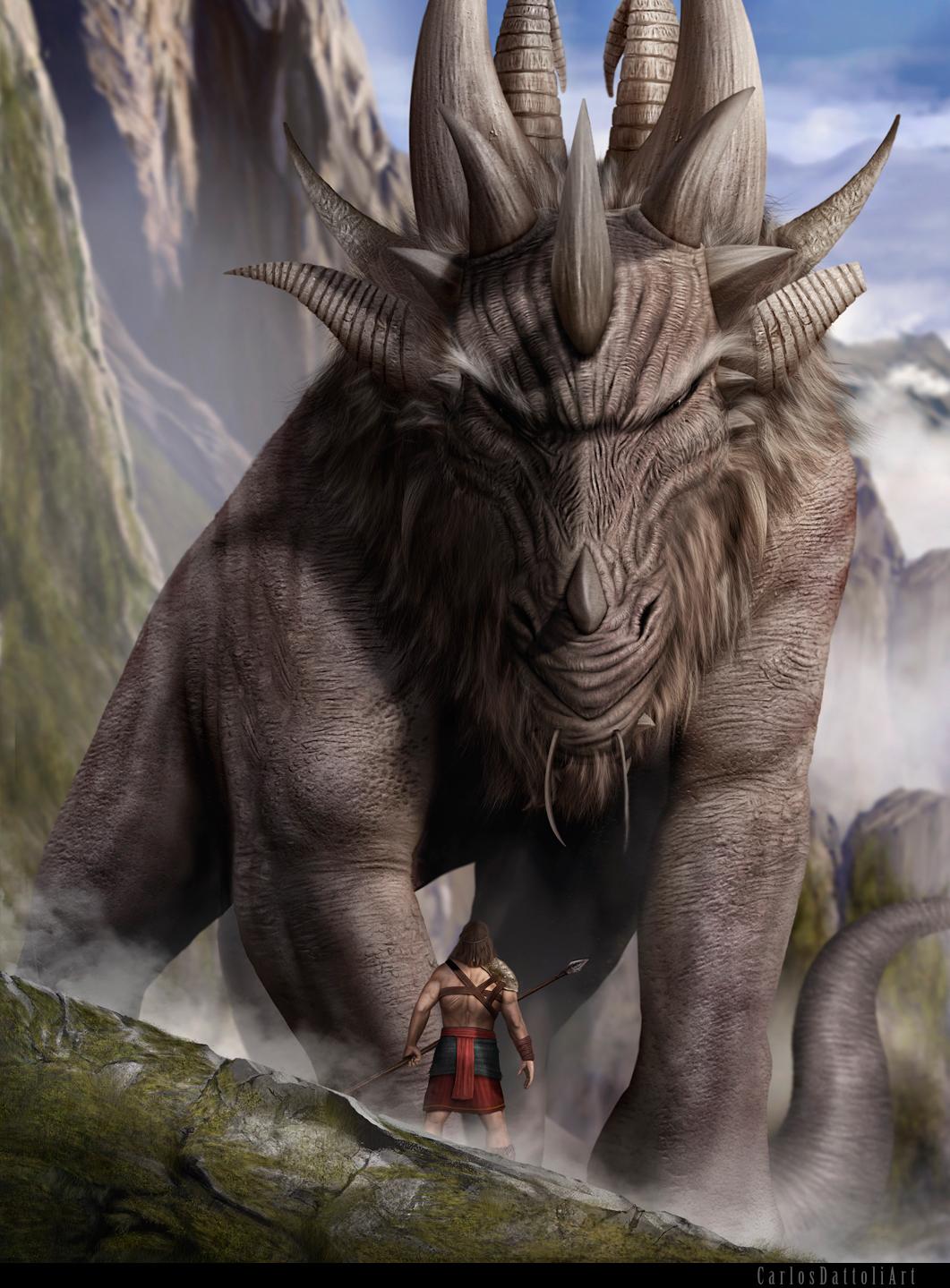 digital photoshop wacom Behance fantasy dragons art carlosdattoli Realism Landscape