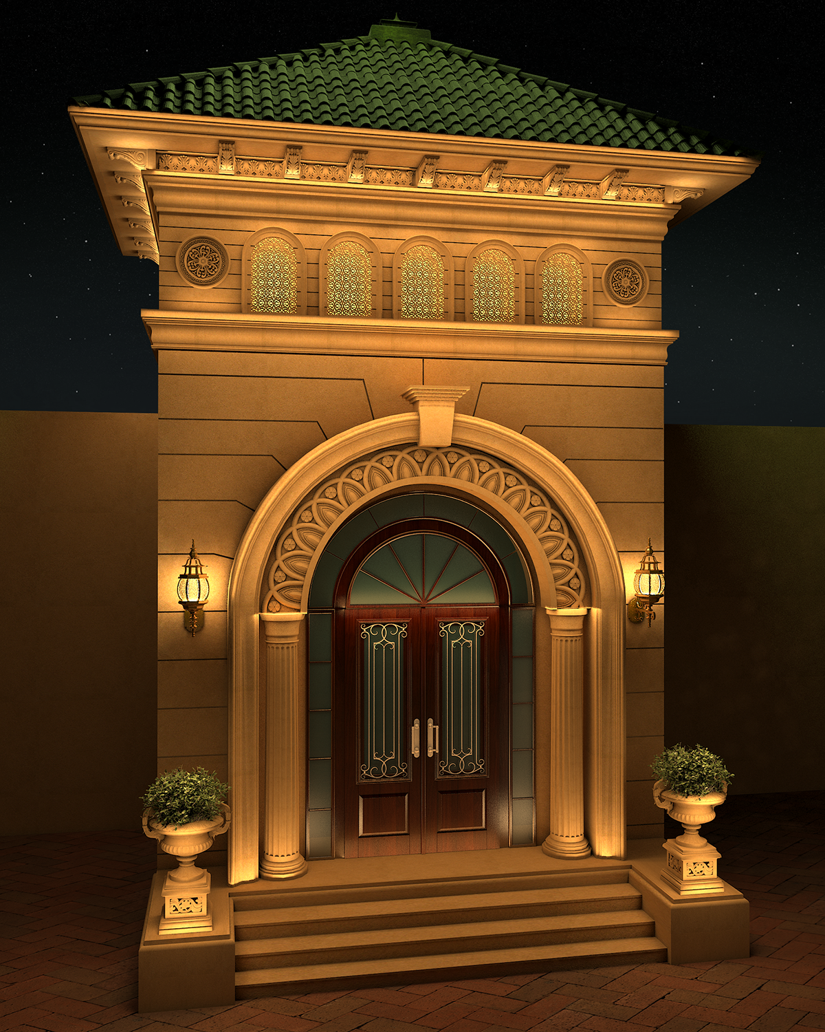 Villa classic entrance design on behance for Classic main door design