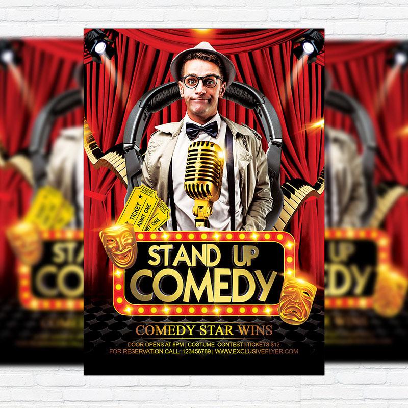 comedy party flyer template facebook cover heroturko