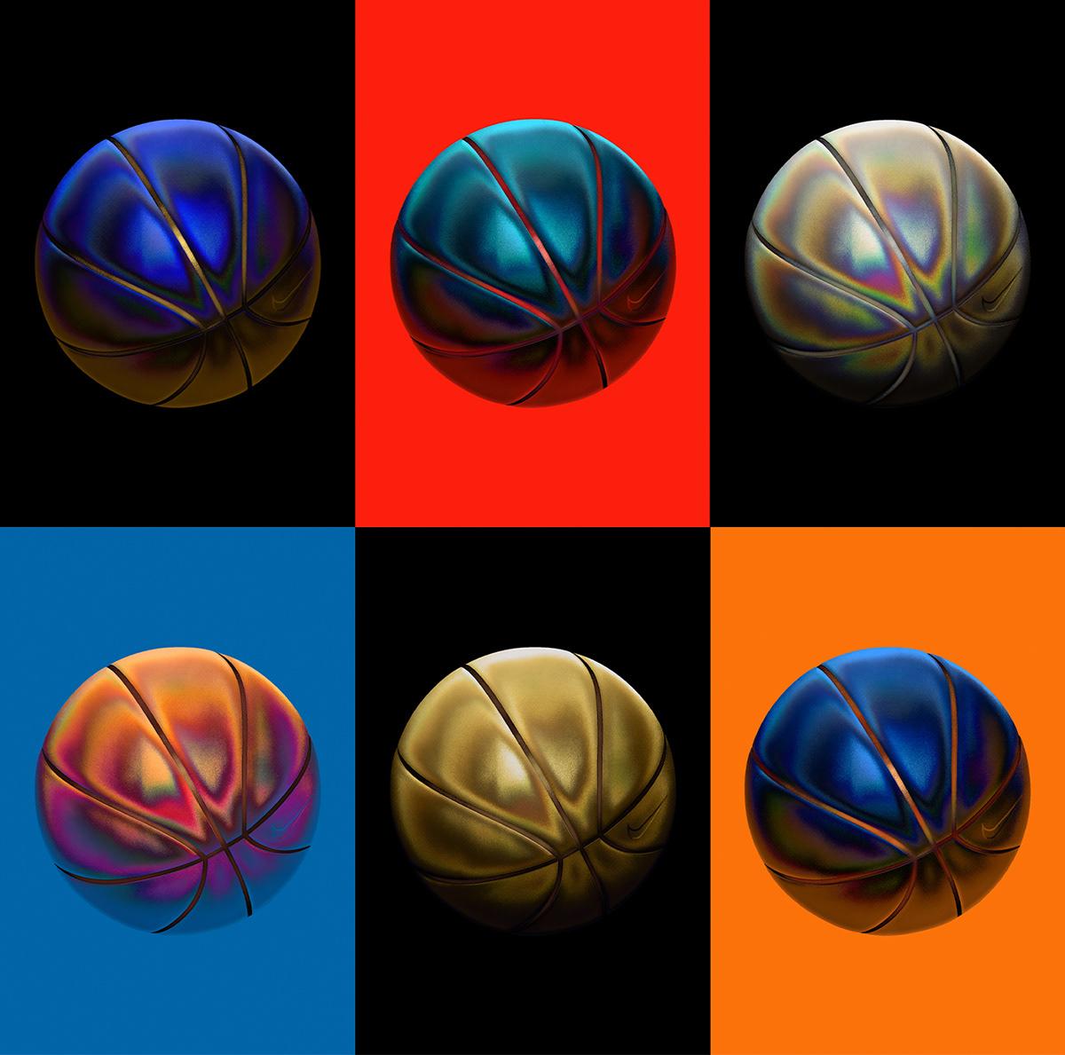 3D basketball iridescent metal Nike poster sport tshirt