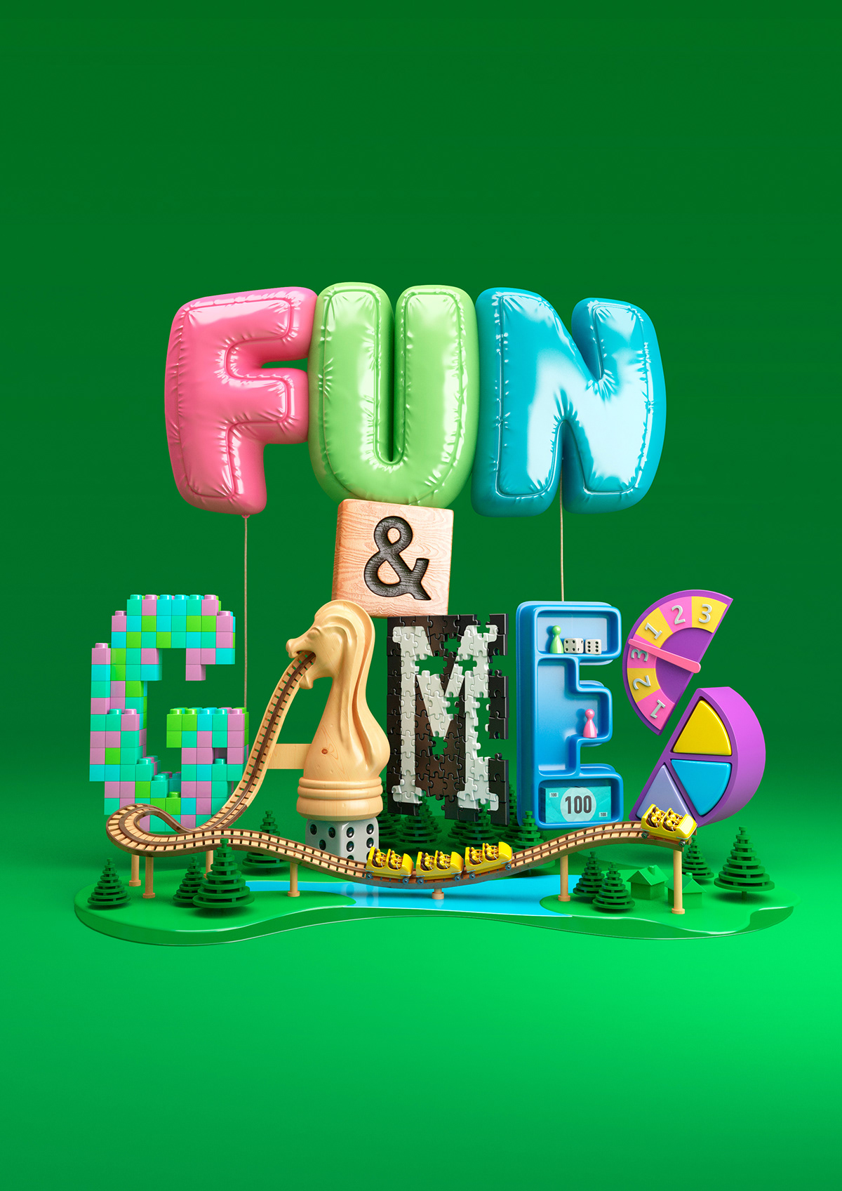 colour pop bright lettering characters 3D CGI design Watches Love 3D Type 3D typography