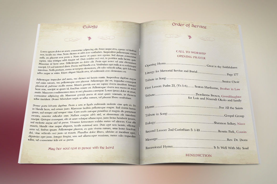 Watercolor Funeral Program Publisher Template on Behance