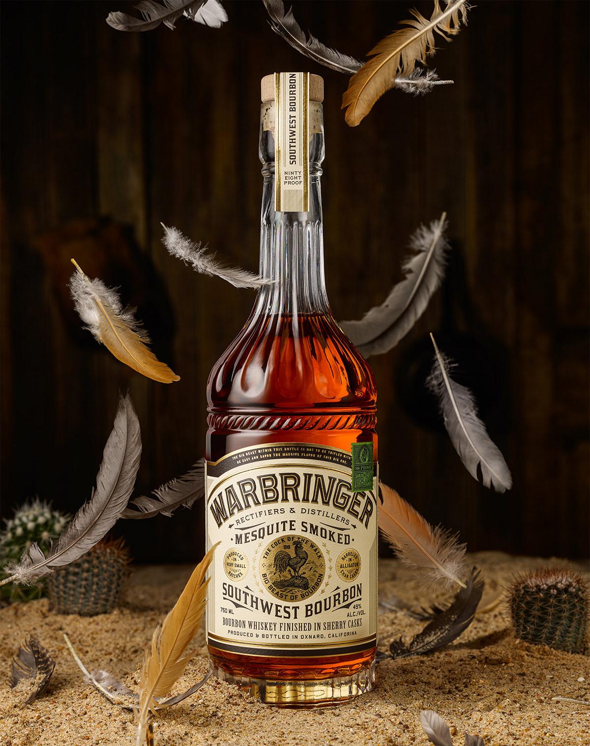chicken bourbon bottle gold foil western southwest Whiskey liquor type logo