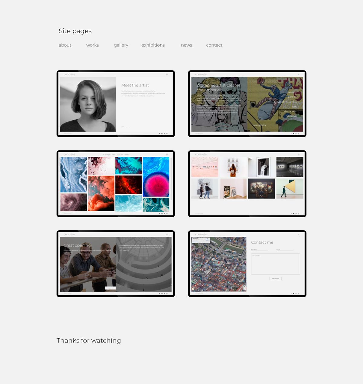 template Responsive design html5 css3 bootstrap portfolio artist js Website