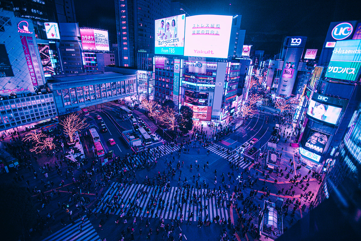 Shibuya Crossing Tokyo Cyberpunk