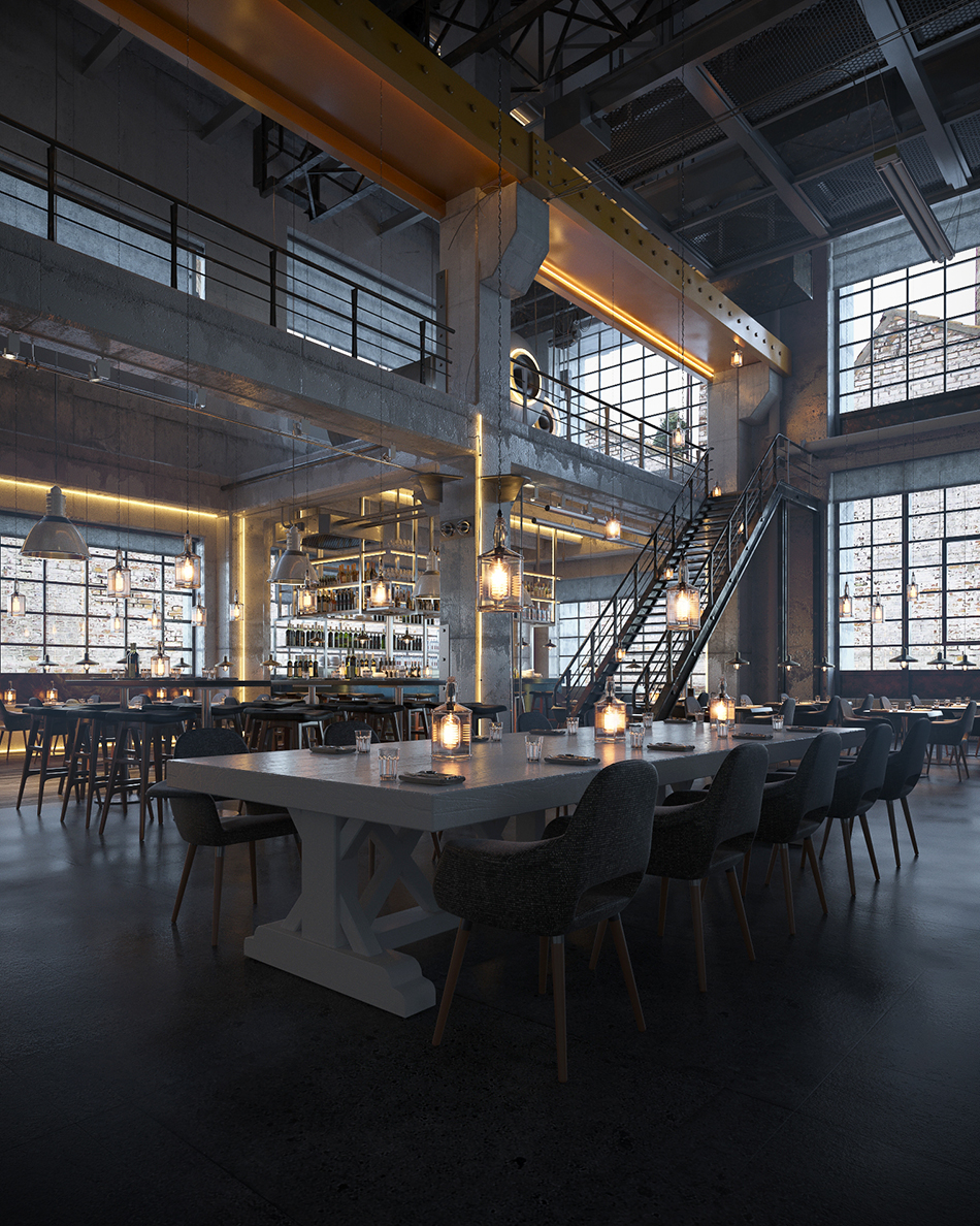 Industrial Bar And Restaurant On Behance