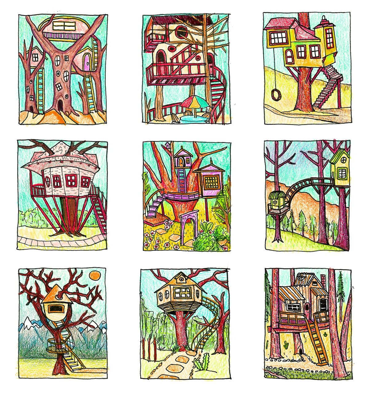 Tree  house sketch prismacolor pen