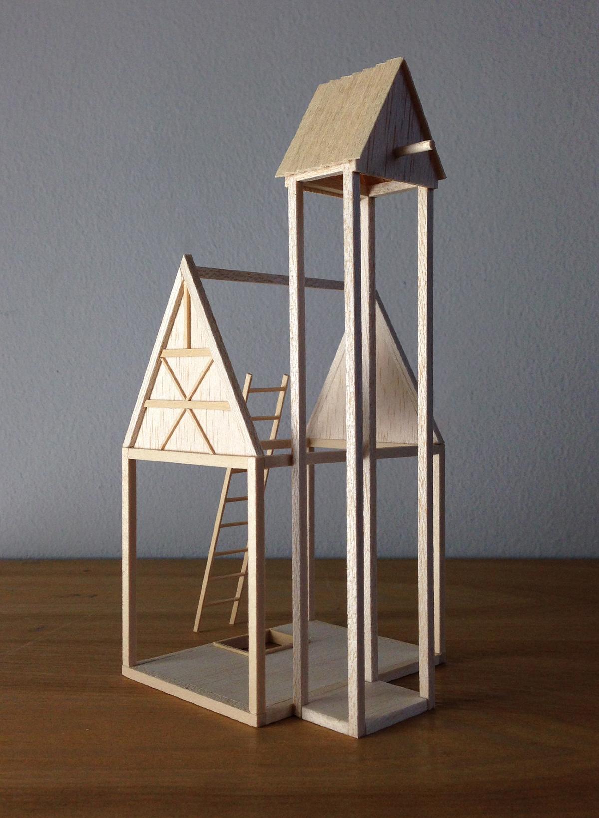 Balsa wood Miniature craft sculpture model architecture houses maquette
