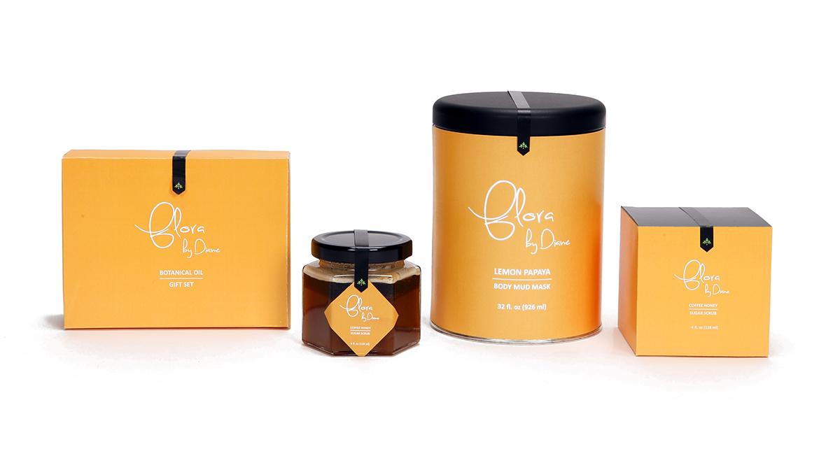 Flora skincare package packaing design yellow sugar scrub box product