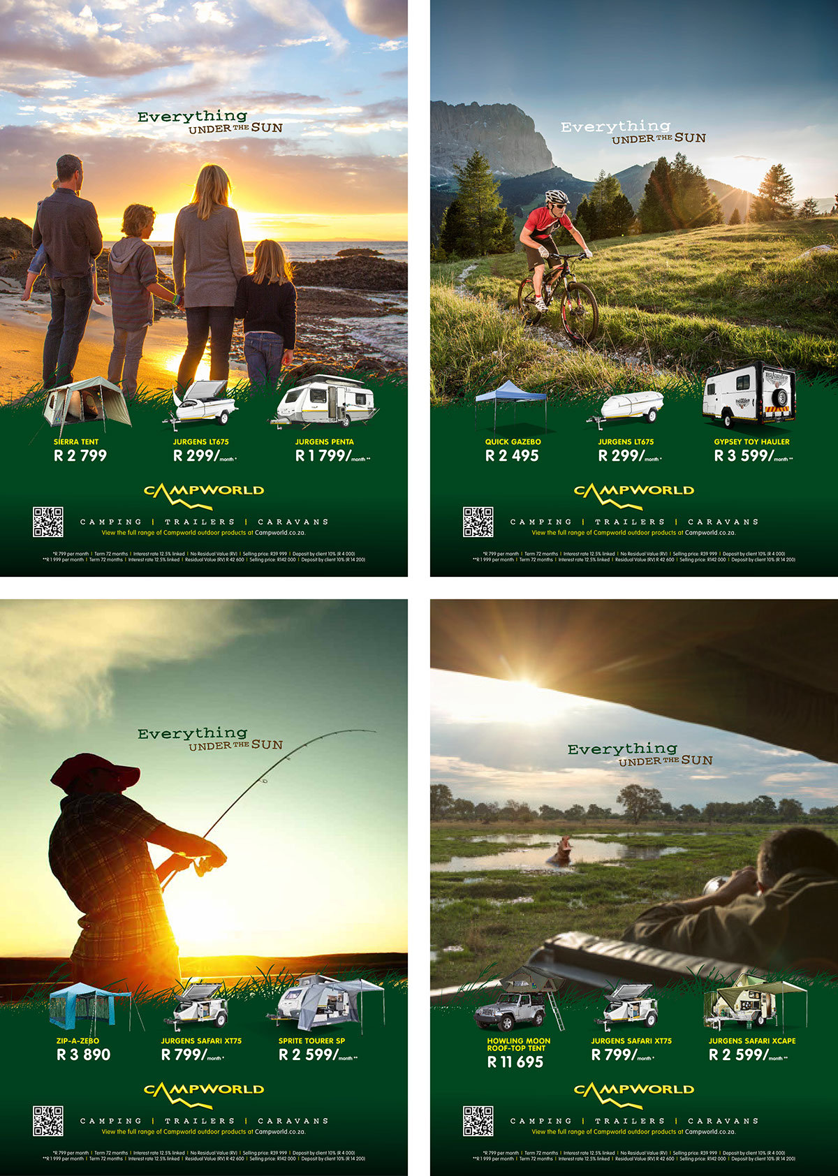 print advertisements on  4 of 8 full page ads for campworld campaign themes and product offerings were specific to the various publications responsible for client service