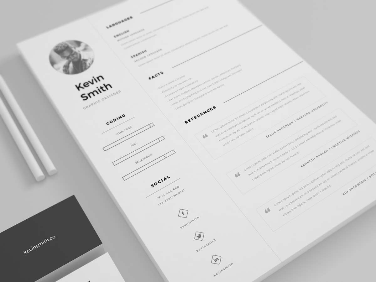 free clean & minimal resume template on behance