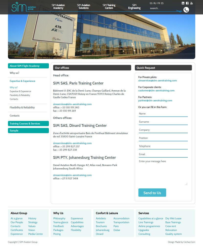 SIM Aviation Group (Paris) // Web page design on Behance
