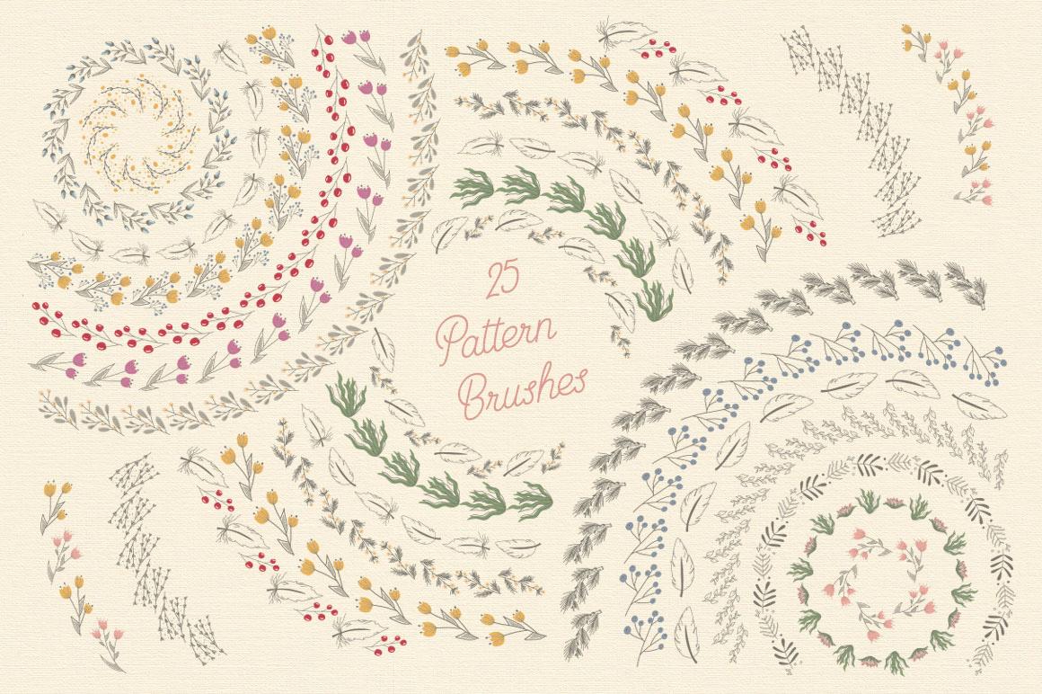 brush flower floral ornament wreath border frame leaf feather pattern