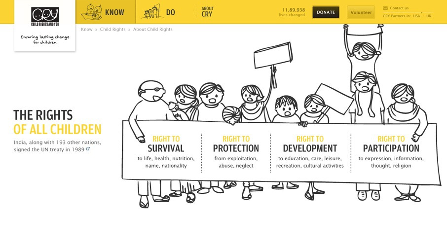 Cry Children rights mobile design children kids NGO design india web design india Website mobile donation Form fundraising