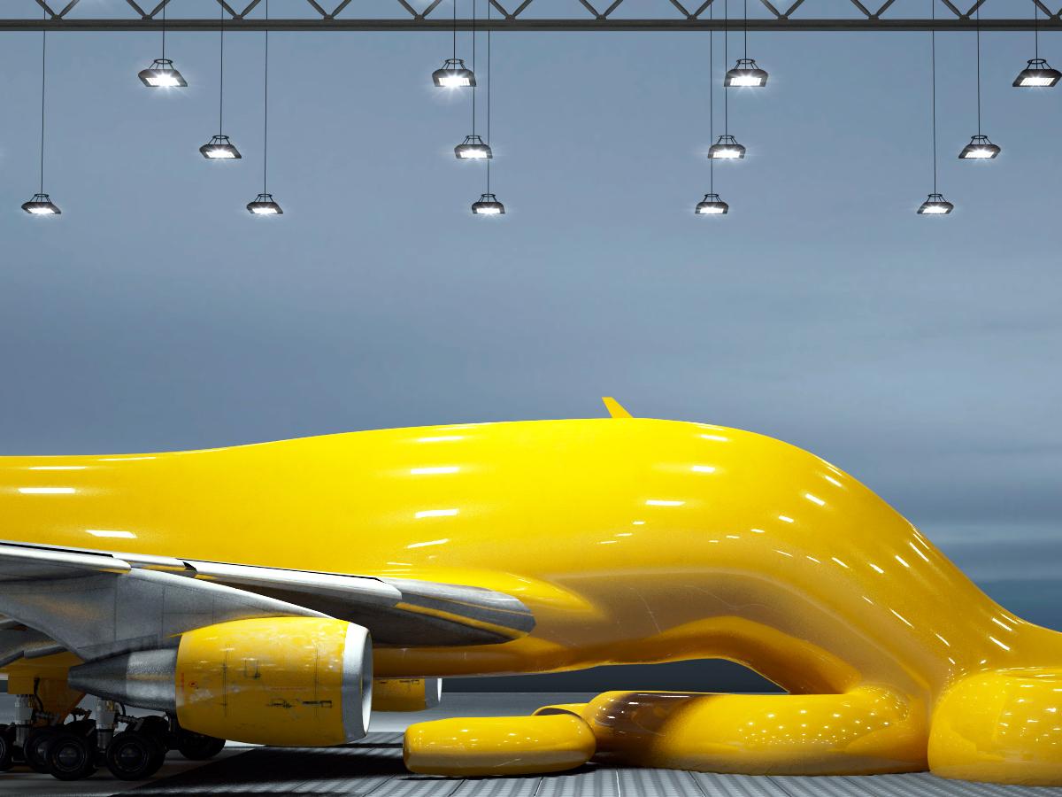 Adobe Portfolio Boeing 747 flight airplanes mutation 3D intestine CGI art sculpture