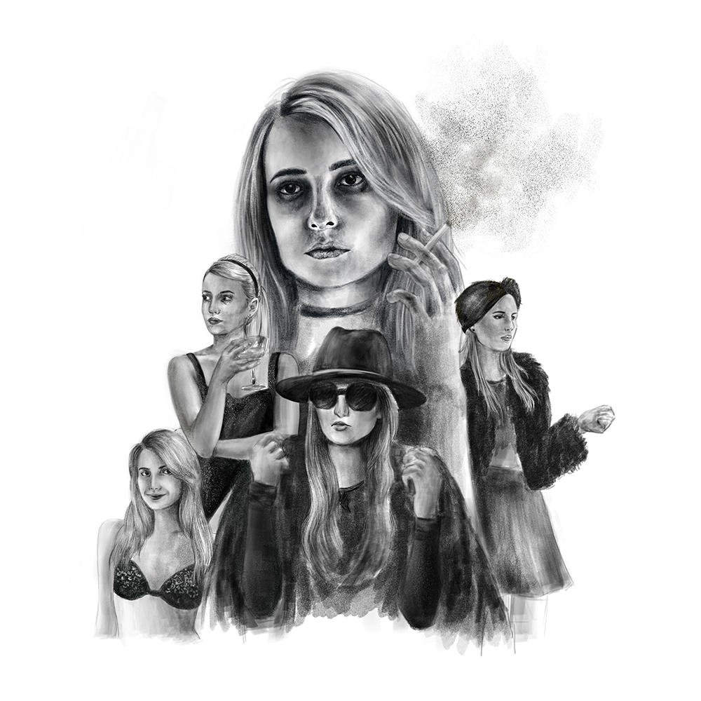 emma roberts ILLUSTRATION  black and white gif animation Adobe Photoshop madison montgomery american horror story witch coven