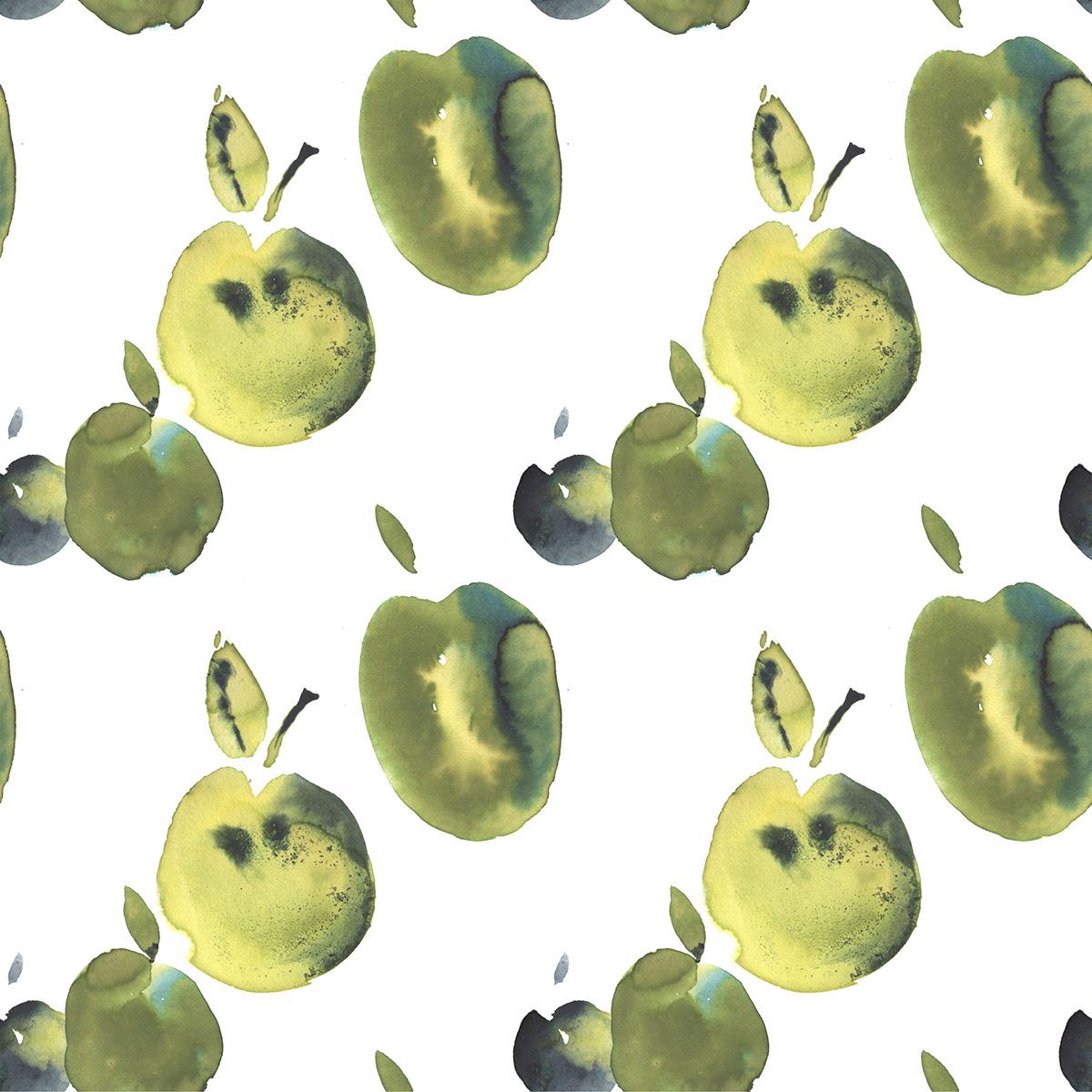 apple design pattern print watercolor акварель графика Иллюстратор