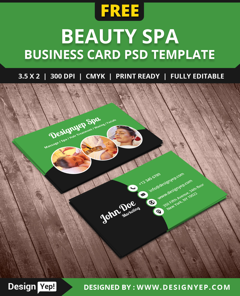 Free beauty spa business card psd template on behance reheart