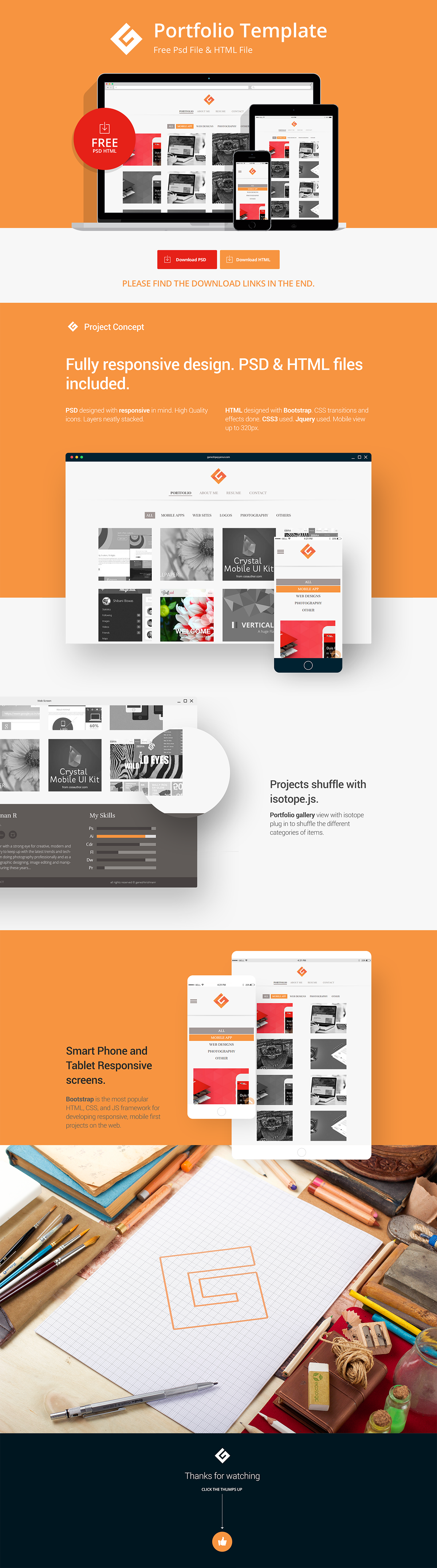 Portfolio Template PSD HTML Free Download on Behance